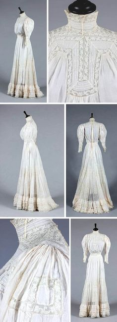 A lawn and Valenciennes summer gown, ca. 1905-10, with high neck, shirred & gathered waist, and deep lace insertions to bodice and hem. Kerry Taylor Auctions/Artfact