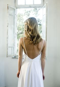 Pin for Later: SIMPLE WEDDING DRESSES. Romantic White chiffon beach wedding dress , low back wedding dress White Wedding dresses, Chapel train Bridal Gown custom size Tulle Wedding Skirt, Bohemian Wedding Dresses, White Wedding Dresses, Bridal Dresses, Backless Wedding, Bohemian Bride, Hippie Bohemian, Vintage Bohemian, Gown Wedding