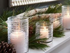 Simple, beautiful Christmas mantel. Elements of Nature | Crate and Barrel
