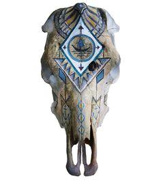 Sébastien Lafleur -cow skull, art, painting Cow Skull, Skull Art, Clock, Painting, Decor, Watch, Decorating, Paintings, Clocks