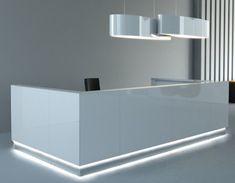 High gloss white reception desk