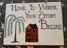 primitive decor sign in stock - all done by hand by PrimitiveCraftsByRhi on Etsy