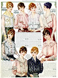 """National Bella Hess catalog, around 1915-1917, I'm guessing. The pages advertise """"Each Waist in a Christmas Box."""