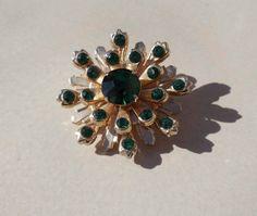 Coro Green Gold Brooch vintage sunburst by PaganCellarJewelry, $16.99