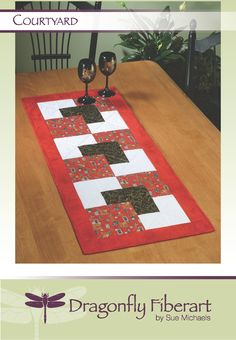 Courtyard is a fun table runner to quilt using simple piecing techniques