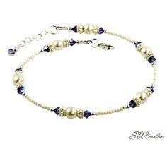 Adjustable 9 - 9 1/2 inch tanzanite pearl beaded anklet created with cream Charlotte seed beads, tanzanite Swarovski Austrian crystals, cream rose Swarovski crystal-based pearls, bright Bali .925 silv