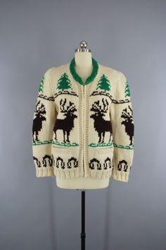 Vintage 1950s Cowichan Cardigan Sweater / Reindeer Deer / Holiday Snowflake Sweater  #vintage #shopvintage