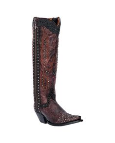"<p class=""MsoNoSpacing"">These fashionable women's 15"" Tempted Boots complete any cowgirl's outfit in stunning style. Handcrafted, these burgundy boots showcase burgundy floral pattern designs with stud details. Leather linings and cushioned insoles make for much comfort for long wear. Western flavor to these boots are provided by snip toes and leather outsoles. Pull tabs and dip openings allow for easier pulling on. Must haves!</p>  <p class=""MsoNoSpacing"">Introduced in the mid-1960s, the…"