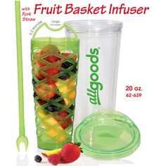 Fruit basket Infuser.  The fruit flavors your water.  Finish your water and eat the fruit as a healthy treat!