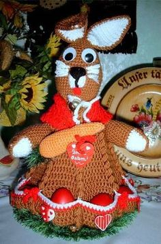 Instructions - crochet - Easter bunny with 8 pockets for eggs etc. with rabbits : Instructions – crochet – Easter bunny with 8 pockets for eggs etc. Free Knitting, Free Crochet, Easter Crochet Patterns, Easter Bunny, Easter Eggs, Gingerbread, Origami, Needlework, Free Pattern