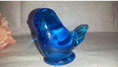 Vintage Blue Bird of Happiness, Hand Blown Glass Bird Figurine, Glass Bird Paperweight, Bird Shelf Sitter, signed, Byron Hicks, 1988 by JunkYardBlonde on Etsy