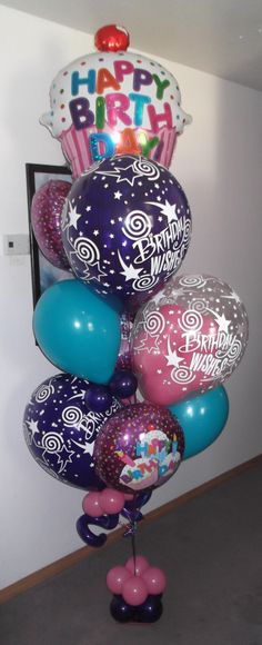 Small Birthday Cupcake balloon bouquet $80 creating by balloonsandmoregifts.com help us get 500 likes on Facebook by the end of February 2014 https://www.facebook.com/pages/Balloons-and-More-Gifts/218906251459051