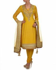 Mango Yellow Gota Patti Silk Suit