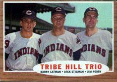 1962 Topps #37 Tribe Hill Trio - Barry Latman / Dick Stigman / Jim Perry Front