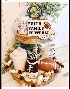 Football themed marshmallow mug hat Kitchen Tray, Kitchen Decor, Galvanized Tray, Tray Styling, Tiered Stand, Wood Tray, Tray Decor, Table Arrangements, Fall Home Decor