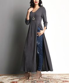 Exude statement-making style with this dramatic side-slit tunic featuring a collarbone-framing scoop neck and elegantly cropped sleeves. Shipping note: This item is made for zulily. Allow extra time for your special find to ship. Kurta Designs, Blouse Designs, Designer Kurtis, Designer Dresses, Indian Dresses, Indian Outfits, Moda Indiana, Hijab Fashion, Fashion Outfits