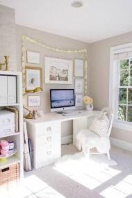 gorgeous office with a pottery barn desk