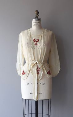 Antique 1920s sheer cream silk tunic-style blouse with red and white beading…