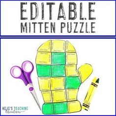 EDITABLE Mitten Template | Make Math, Literacy, or OTHER Puzzles! |  1st, 2nd, 3rd, 4th, 5th, 7th, 8th grade, Activities, English Language Arts, Fun Stuff, Games, Homeschool, Math, Middle School, Winter