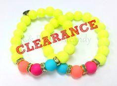 Neon Yellow Beaded Bracelet Set by RandRsWristCandy on Etsy $4