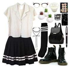 """""""School Romance"""" by fantasy-lover-0719 ❤ liked on Polyvore featuring agnès b., Dr. Martens, Boohoo, Thom Browne, Miss Selfridge, Harper & Blake, Chanel and Montblanc"""