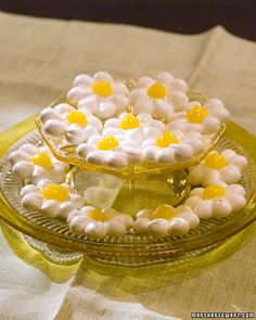 These delicate meringue daisies are perfect for luncheons, showers, or any occasion at which you'd like to serve a beautiful and delicious treat.