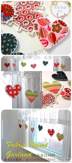Fabric heart garland with blanket stitch and crochet edges