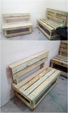 Awesomely Created wonderful Wood Pallet Projects: Reusing the wood pallet is not that much hard task as you do think out to be. Reusing the wood pallet into creative aspirations. Pallet Bench, Wooden Pallet Furniture, Wooden Pallets, Repurposed Furniture, Rustic Furniture, Pallet Crafts, Pallet Projects, Furniture Projects, Wood Crafts