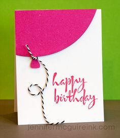 Quick Birthday Balloon Card Video by Jennifer McGuire Ink - use Coluzzle to cut an oval for the balloon