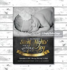 Holiday Birth Announcement, New years card, holiday birth announcement,  chalkboard, christmas, new years, trading silent nights for a bundle of joy, card, PRINTABLE or PRINTED CARDS by SimplyModernDesignCo on Etsy    www.simplymoderndesign.com