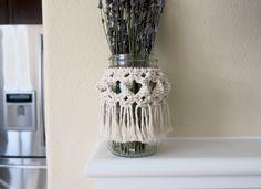 A personal favorite from my Etsy shop https://www.etsy.com/listing/573283233/finch-macrame-jar-wrap-mason-jar-wrap