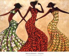Rhythm Poster Print by Monica Stewart Art by Room People Cultural African American Dance Modern Women Decorating Ideas Make a Bold Statement Family Black Performing Arts Figurative