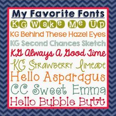 Simply Second: My Favorite Fonts