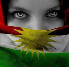 Kurdish girl with kurdistan flag ♡ ♥ ♡