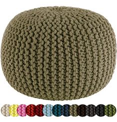 Cotton Craft - Hand Knitted Cable Style Dori Pouf - Pink - Floor Ottoman - Cotton Braid Cord - Handmade & Hand stitched - Truly one of a kind seating - 20 Dia x 14 High Modern Ottoman, Round Ottoman, Round Stool, Double Knitting, Hand Knitting, Stool Cushion, Jute Fabric