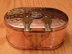 Antique-Swedish-Tea-Caddy-Jewelry-Coffer-Chest-Casket-Copper-Box-Handmade-Sweden