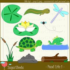 Natural Pond Life and Animals v1 in Blue by SugarShedaClipart