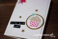 Geburtstagskarte in Flüsterweiß mit Cupcake Party