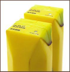 Cool banana-like packaging for banana juice.