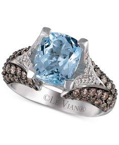 Le Vian Chocolatier® Sea Blue Aquamarine® (2-1/2 ct. t.w.), Chocolate Diamonds® (1 ct. t.w.) and Vanilla Diamonds® (1/5 ct. t.w.) Ring in 14k Vanilla Gold® - Le Vian Shop - Jewelry & Watches - Macy's