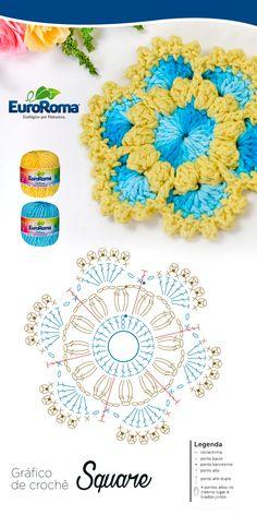 Watch The Video Splendid Crochet a Puff Flower Ideas. Wonderful Crochet a Puff Flower Ideas. Crochet Motifs, Crochet Mandala, Crochet Diagram, Crochet Chart, Crochet Squares, Crochet Granny, Crochet Doilies, Crochet Stitches, Crochet Puff Flower