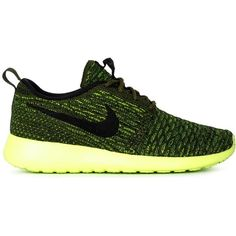 Nike Roshe One Flyknit Sneakers ($113) ❤ liked on Polyvore featuring shoes, sneakers, nike footwear, round toe sneakers, round toe shoes, yellow shoes and nike shoes