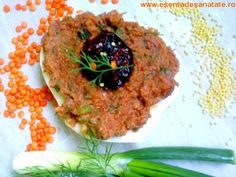 Pate vegan cu mei, linte si rosii uscate Salmon Burgers, Quinoa, Gem, Grains, Rice, Vegan, Healthy, Ethnic Recipes, Food