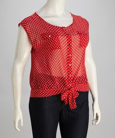 Take a look at this Red Polka Dot Front-Tie Plus-Size Top by Jazzy Martini on #zulily today! $19.99, regular 49.00 Sale ends in 1 days, 6 hours. In otherwords, sale ends on Friday, June 7th in the evening.