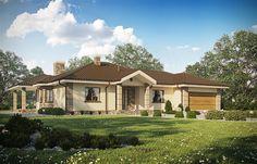 projekt D172 - Zbigniew z garażem wersja drewniana WAI1243 Home Fashion, Cabin, Mansions, House Styles, Outdoor, Home Decor, Dom, Outdoors, Decoration Home
