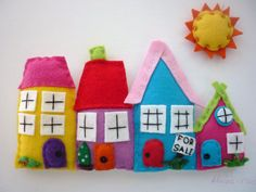 Rainbow Village - Framed Felt 3D Nursery Art