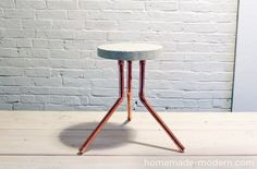 Make a modern stool with concrete and a cake pan. #Funkytime