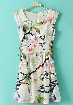 White Sleeveless Birds Branches Print Drawstring Dress
