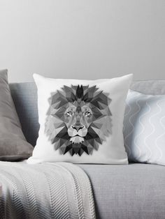 Geometric lion in simple modern style with monochrome black and white color • Also buy this artwork on home decor, apparel, stickers, and more | Click the picture to purchase or to see others products | Shipping Worlwide | This pattern/image is available in variety of products. #CushionCover #PillowCover #ThrowPillow #PillowCase #CushionCase #Cushions #Pillow #Cushion #CushionCovers #HomeDecor #Decor #Bedding #CartoonPillow #CartoonCushion #AnimalPillow #AnimalCushion #LionPillow…