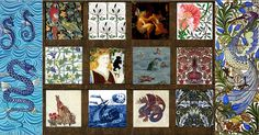 Pinned for later from William Morris Tile:  Far left: William DeMorgan Seahorses  Top: Parrot Fireplace Tiles2C CFA Voysey Rook and Holly2C Victorian Fairies William Morris Poppy Tile, Middle: Bird and Trellis, Beauty and the Beast Fireplace Side Panel, Carta Marina Detail, May Morris Flower Pot Bottom: Forest Animals Hare, William DeMorgan Ship, DeMorgan Dragon, Membland Detail Far right: William DeMorgan Fantastic Bird